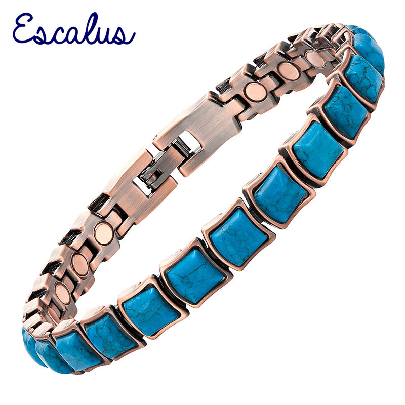 Escalus Women 19pcs Magnets 21pcs Semi-Precious Stones Copper Plating Magnetic Ladies Bracelet Bangle Wristband Charm