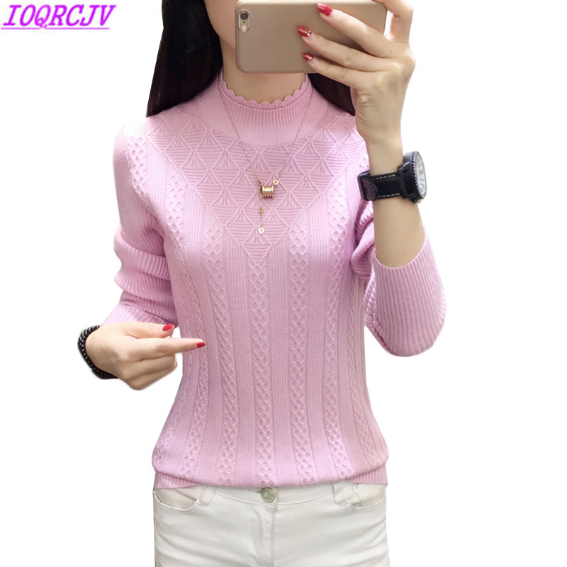 Winter Sweater Women 2018New Fashion Half-Turtleneck Knitted Pullover Slim Large Size Knit Bottom Shirt Women Clothing IOQRCJV 8