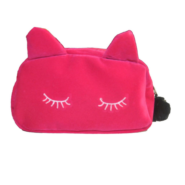 Women Cosmetic Pouch Bags Fashion Las Makeup Organizer Bag Cat Flannel Monedero