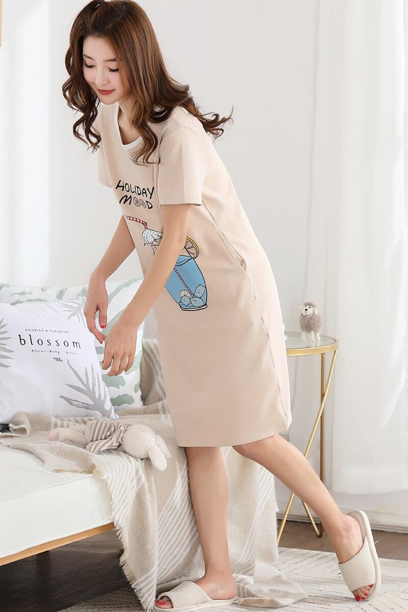 2018 New Cotton Nightgown Women Lounge Cute 100 Cotton Nightdress Cartoon Sleepwear Short Sleeve Casual Nightwear Sleepshirts in Nightgowns Sleepshirts from Underwear Sleepwears