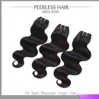 Top 7A Peruvian Body Wave Virgin Hair Silky Soft 3Pcs lot Peerless Hair Products Natural Black Human Hair Weave 12-28inch