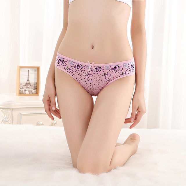 Women Striped Print Panties Cotton 3pcs/lot
