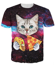 Taco Cat T-Shirt a cute cat eating tacos and pizza in galaxy space 3d print women men summer t shirt short sleeve(China)