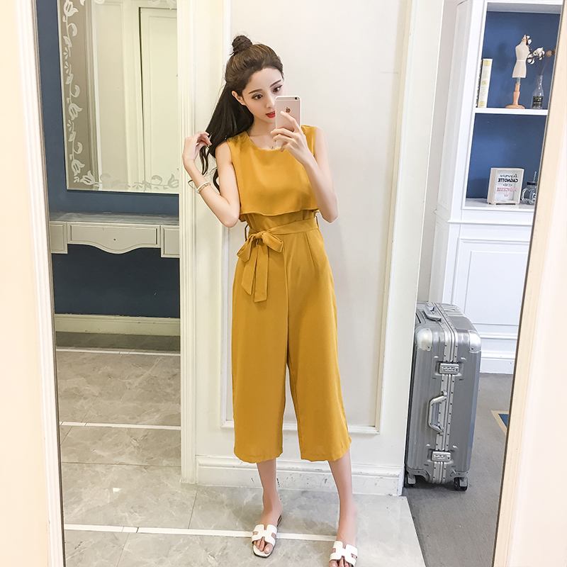 Korean Style 2019 New Women Jumpsuits High Waist Wide-leg Woman Bodysuit Rompers Womens Jumpsuit Combinaison Femme 2