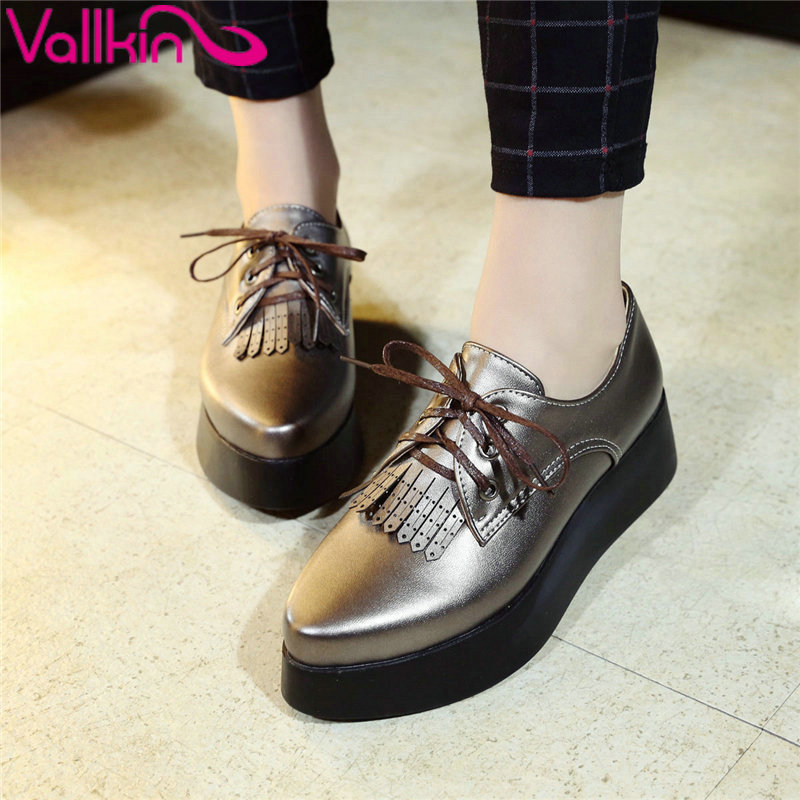 ФОТО VALLKIN Size 34-40 Lace Up Tassel Round Toe Leisure Shoes Woman British Flat Heel Oxfords Women PU Leather Flat Platform Shoes
