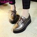 Vallkin tamaño 34-40 ata para arriba la borla de punta redonda zapatos de ocio mujer Planos Británicos Oxfords de Las Mujeres de LA PU de Cuero de Tacón de Plataforma Plana zapatos