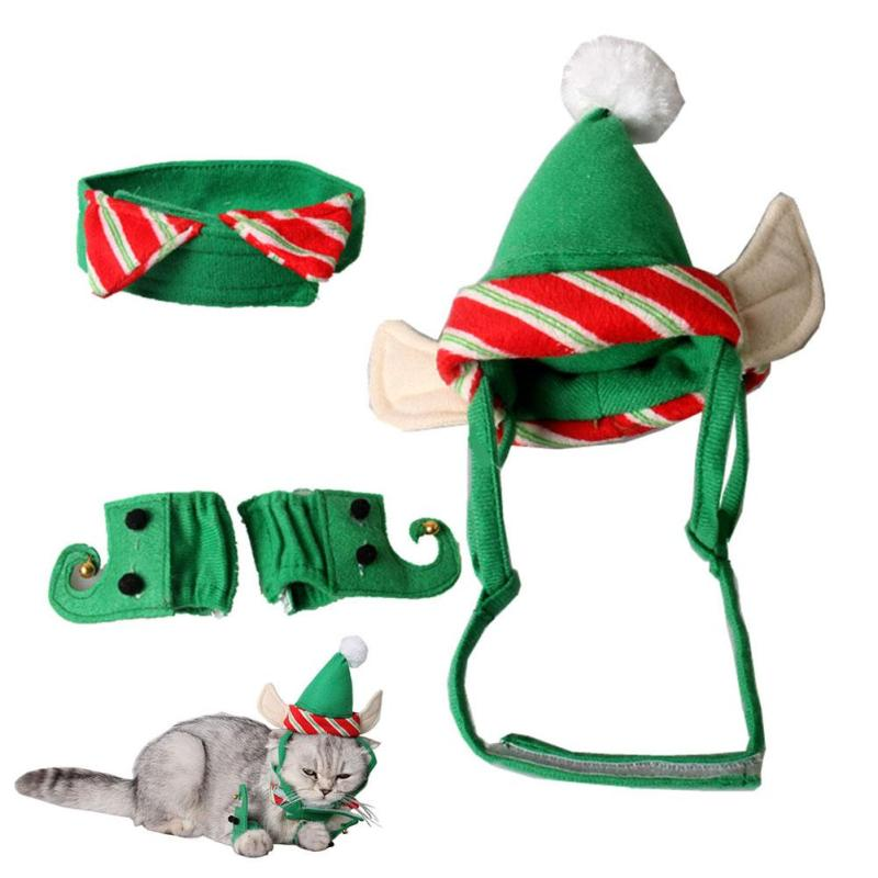 4pcs Set Pet Suits Cute Cats Ely Costumes Suits Home Party Christmas Festivals Green Clamp Cat Hat Ear Hole Dog Decor ...