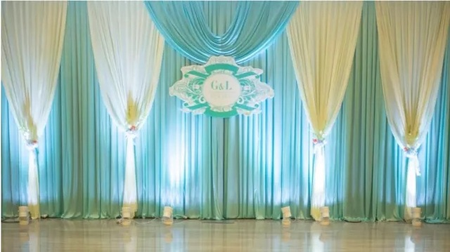 Express Free Ship New Design Tiffany Blue Wedding Backdrop Curtain  Decoration Romantic Wedding Curtain With Swags