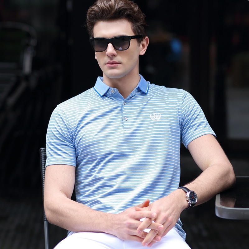 New Men's   Polo   Shirt Short Sleeve Summer Fashion Striped High Quality Fit Slim Business Casual Lapel   Polos   Men Top Tees AF1756