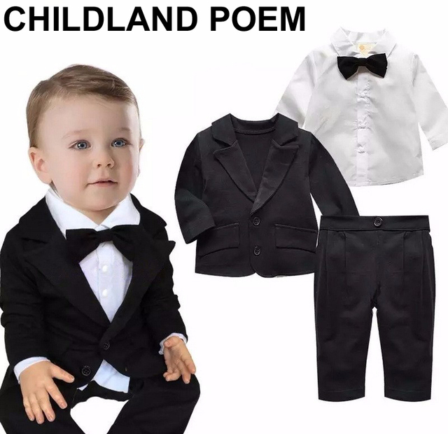 7e4256a7852b baby boys clothing set 1 year birthday clothes baby infant gentleman ...