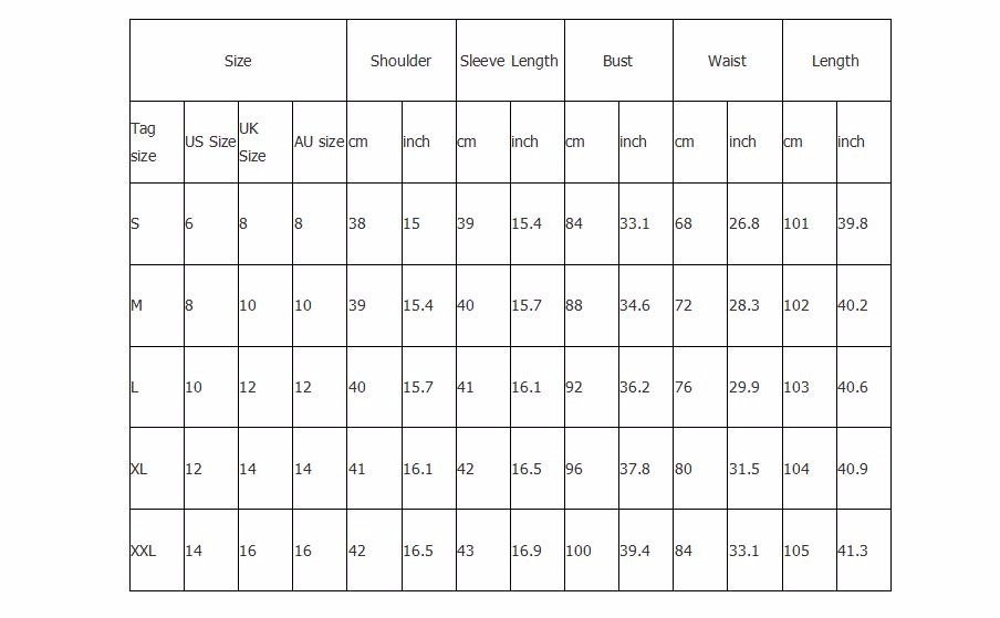 JA242 women trench coat size chart
