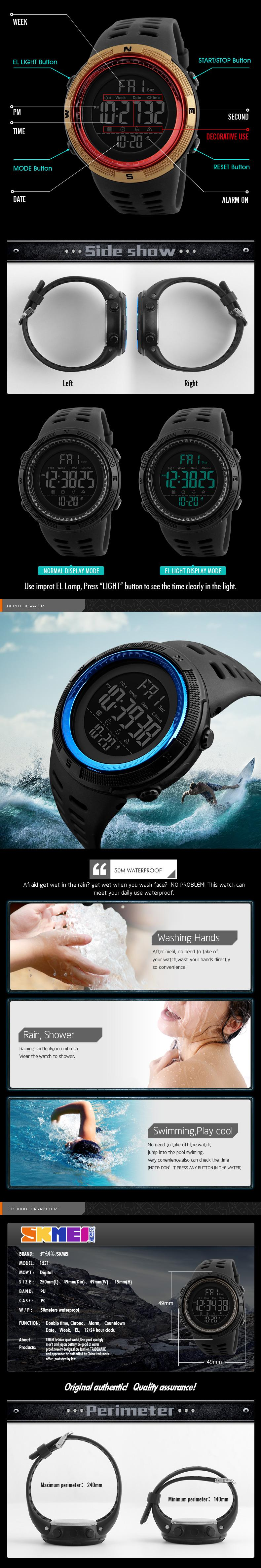 SKMEI Relogio Masculino Mens Watches Luxury Sport Army Outdoor 50m Waterproof Digital Watch Military Casual Men Wristwatches New 2