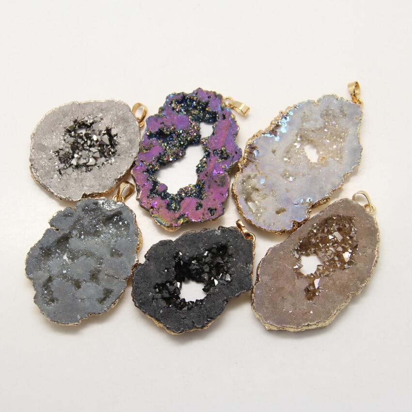 Цвет выбор Для женщин Jewelry Кулон ручной работы Бразилии Achates Druzy Шарм Браслет Fit Цепочки и ожерелья Свадебные натуральный агат кулон