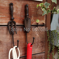 2 Sets Lot Set Of 2 Pieces Cast Iron Wall Hook Spade Shovel And Fork Vintage