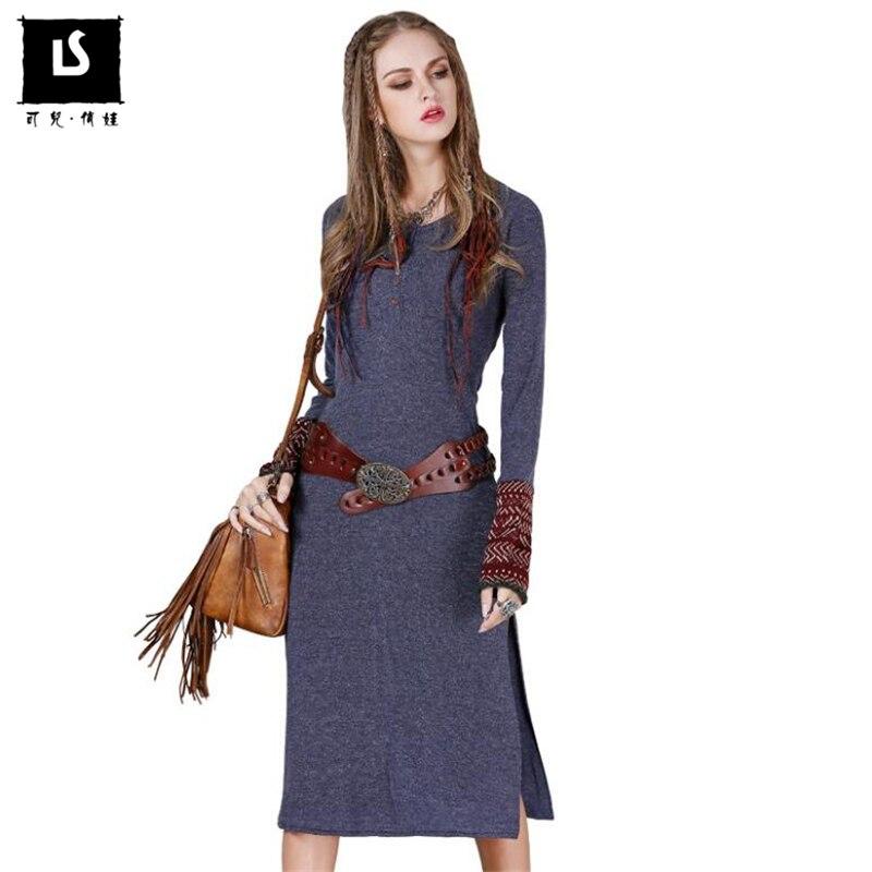 2018 Women Vintage Dress Autumn Winter Sweater Dresses Slim Long Knitted Sweater Dress Sexy Hem open fork Elegant party dresses