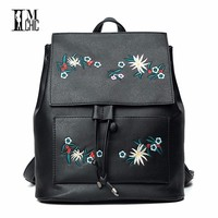2018 Embroidered Flowers Vintage Stylish Women Backpacks Soft Girls Student Mochilas De Mujeres Artificial Leather Bag