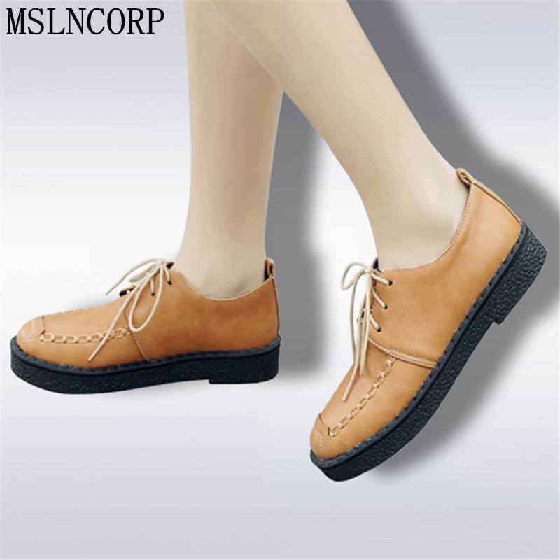 Size 34-45 Oxford Shoes For Women Shoes Woman Leather Martin Ankle Female Casual Shoes Flats Spring Autumn Lace-Up Zapatos Mujer lotus jolly ballet flats faux leather women casual shoes tie vintage british oxford low pointed toe spring autumn zapatos mujer