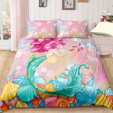 Mermaid Cartoon Bedding Set Duvet Covers Pillowcases Twin Full Queen King Comforter Bedding Sets Bedclothes Girl room decor(China)