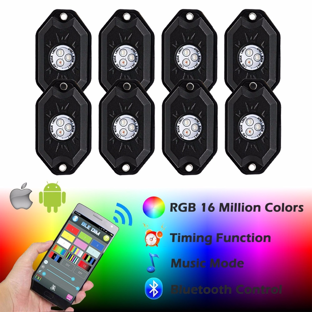 9W RGB Led Rock Lights Waterproof Off Road LED Rock Light Kit - 8 Pods LED Rock Lights For Offroad 9W RGB Led Rock Lights Waterproof Off Road LED Rock Light Kit - 8 Pods LED Rock Lights For Offroad