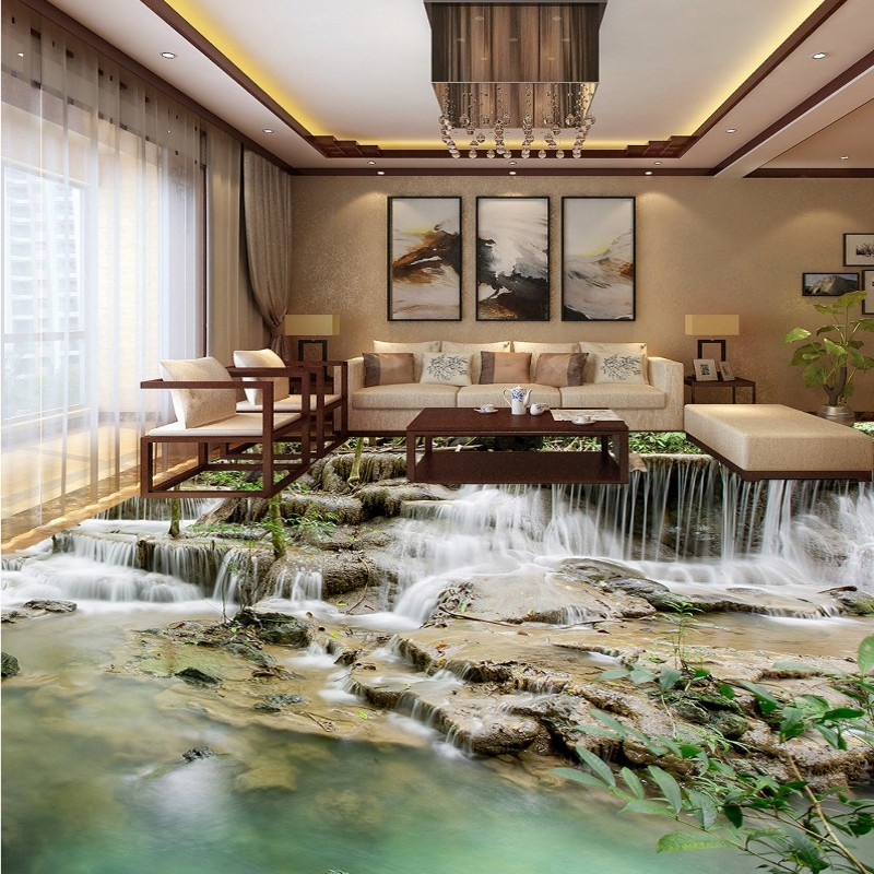 Free Shipping restaurant square flooring painting HD 3D outdoor natural waterfall self adhesive PVC floor wallpaper mural