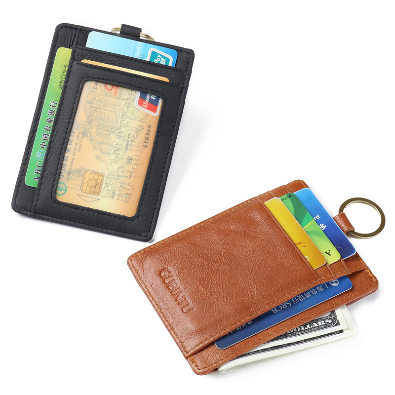 Genuine leather Thin Credit Card Holder Mini Wallets Key Holder Rfid Blocking Bank Credit Card Small Cash Purse Clip Pocket in Card ID Holders from Luggage Bags