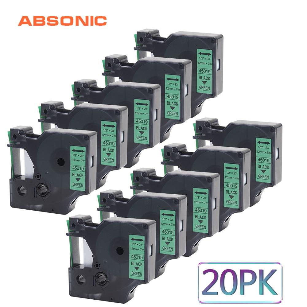 Absonic 20PCS 12mm Refills Tape DYMO D1 45019 Black on Green Compatible Dymo LabelManager PnP 160 220P 360D 450D Printer MakerAbsonic 20PCS 12mm Refills Tape DYMO D1 45019 Black on Green Compatible Dymo LabelManager PnP 160 220P 360D 450D Printer Maker