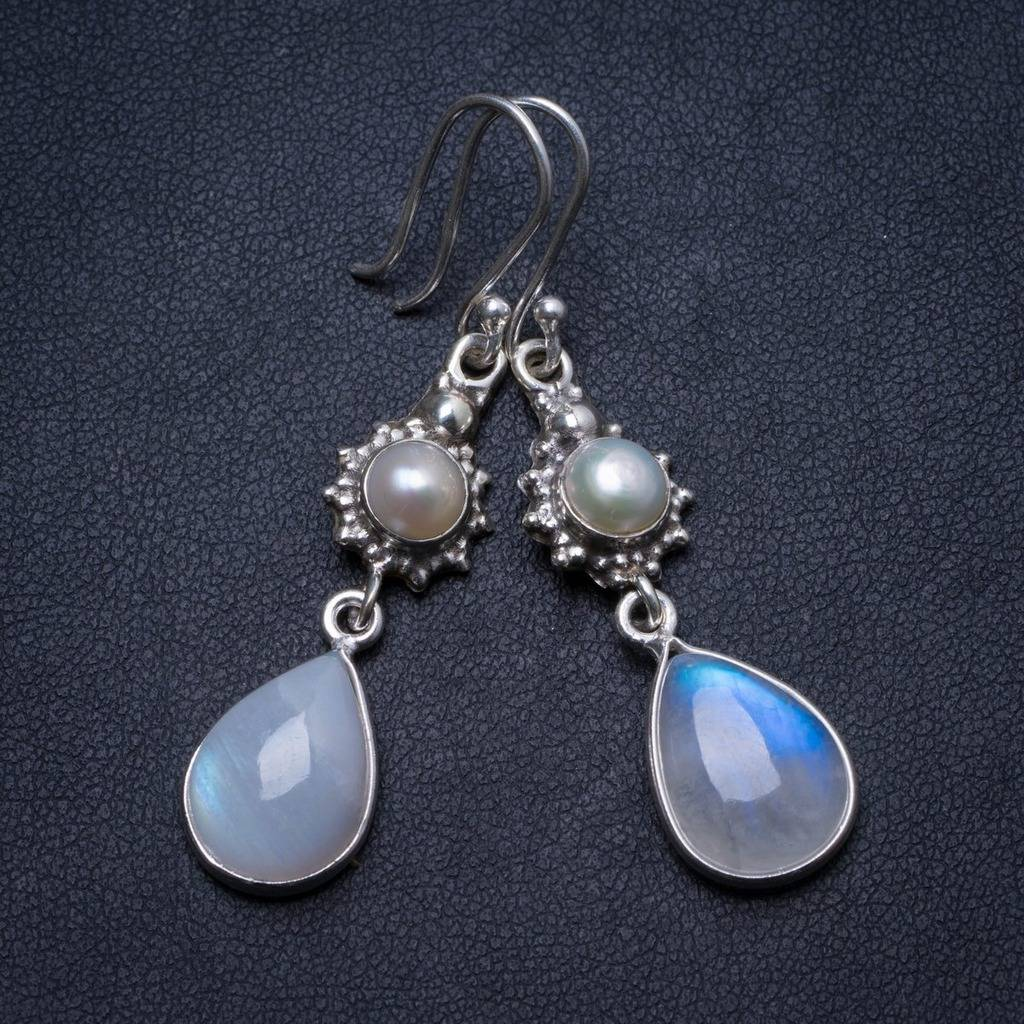 цена на Natural Moonstone and River Pearl Handmade Unique 925 Sterling Silver Earrings 2