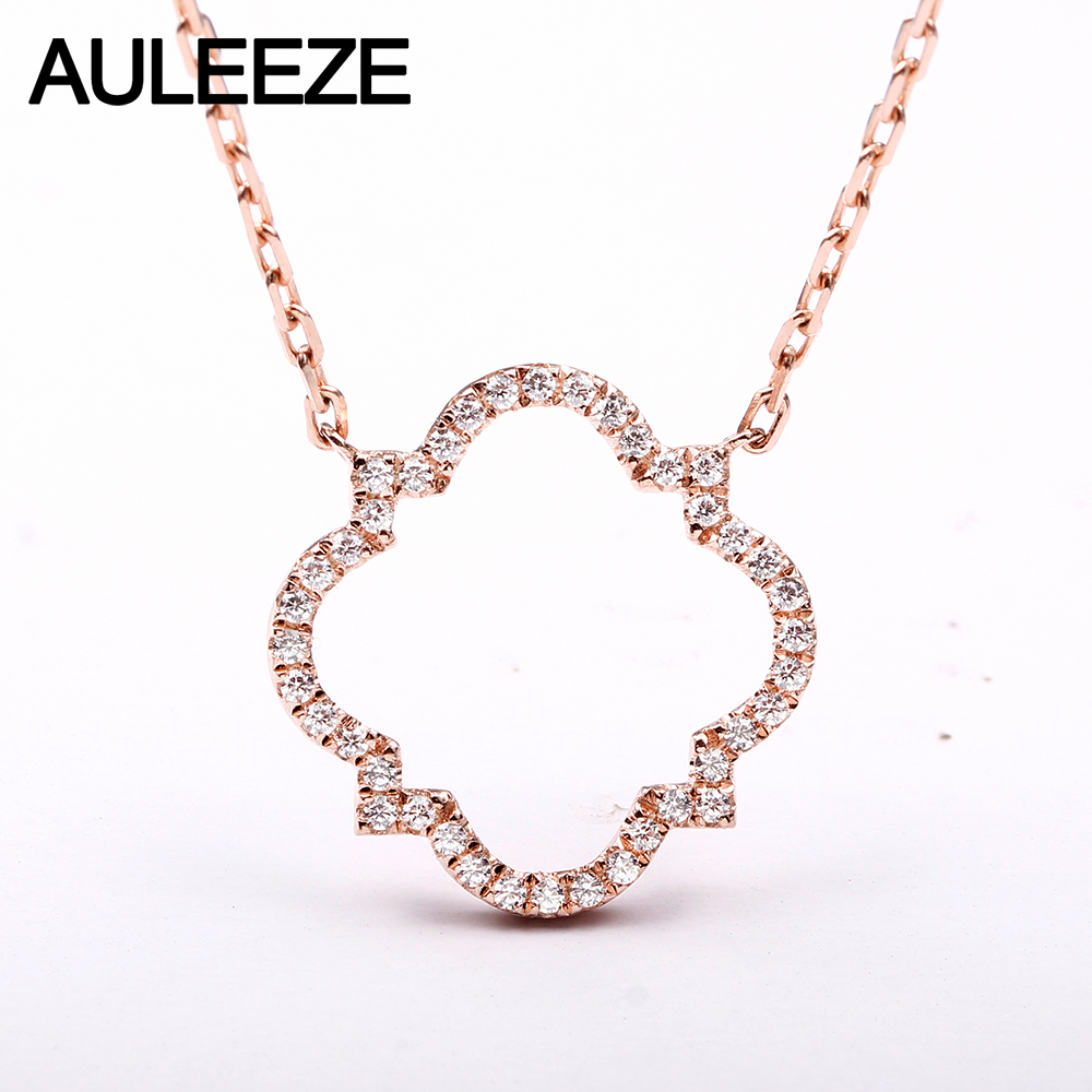 AULEEZE Real 18K Rose Gold Diamond Pendant Romantic Four Leaf Clover Natural Diamond Necklace For Women Jewelry real 18k rose gold 1 2 carat ct def color lab grown moissanite diamond pendant necklace chain for women charm jewelry