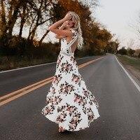 BKLD Casual Long Summer Beach Dress Women Sleeveless Sexy Deep V Neck Floral Printing Maxi Dress
