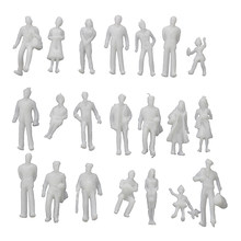100Pcs Model Train People Figures Scale HO TT (1 to 100), Assorted Style, Great Collectibles--Light Grey(China)