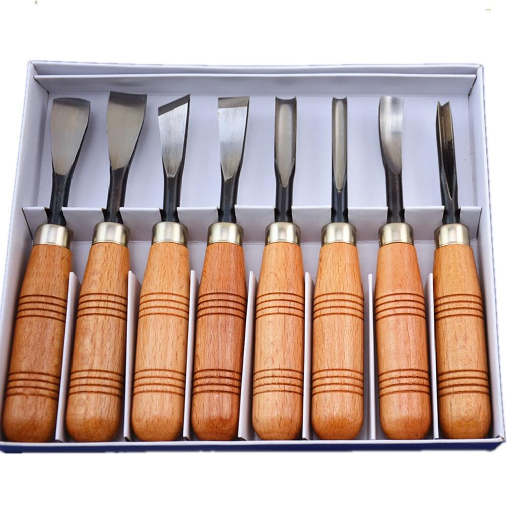 цена на 8 pcs Tool Kit woodpeckers chisel wood carving tools chisel knife handmade woodcut