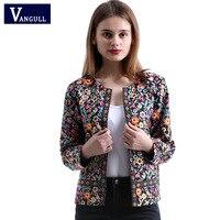 Vangull 2018 New Spring Botanical Jacket Autumn Basic Jacket For Women Multicolor Collarless Elegant Jackets And