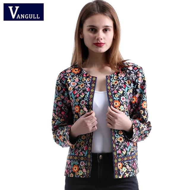 Vangull 2018 Neue Frühling Botanische Jacke Herbst Grundlegende Jacke für Frauen Multicolor Kragen Elegante Jacken und Mäntel Feminina