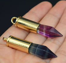 YA1552 Natural Fluorite Big Point Bullet Casing Pendant Gold color 50x11mm(China)