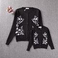 Embroidered Cardigan Women Girl Long Sleeve Snow Sweaters Mother Daughter Family Matching Clothes Women Girl Knitted Black BL04