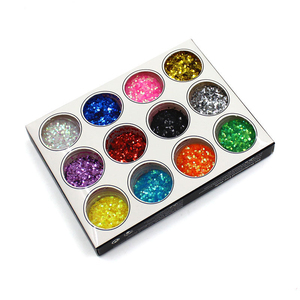 1mm 12pcs Colors Acrylic Hexagon Sparkly Sequin Rhinestone Decoration Glitter Nail Art Tips Design Tool Nail Decoration
