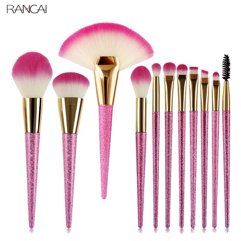 11 pcs Rose Maquillage Pinceaux Fan Lâche Poudre Fondation Blusher Sourcils Cils Fard À Paupières Brosse Bavures Pincel Maquiagem Kit