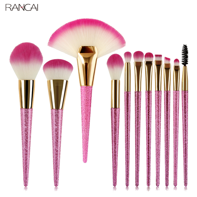 11pcs Pink Makeup Brushes Set Fan Loose Powder Foundation Blusher Eyebrow Eyelashes Eyeshadow Smudge Brush Pincel Maquiagem Kit цена