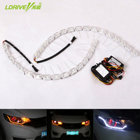 Universal Car LED Crystal Telescopic Flowing Water Light White Daytime Running Light With Yellow Turn Signal