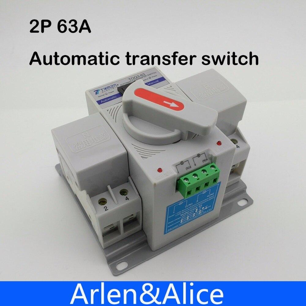 2 p 63a 230 v mcb tipo interruptor de transferência automático de potência dupla ats