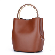 Genuine Leather Women Bucket Bag Handbag Gold Metal Round Top Handle Bag Ladies Purse Elegant Korean Style Fashion Hand Bag
