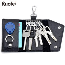 New business Card Holder Wallet 100% Genuine Leather Key Bag Unisex Solid Organizer Mens Car Housekeeper G5