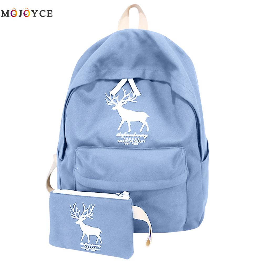 2pcs/set Canvas Cute Backpack Preppy Style Boy Girls Deer School Bag Hot New Casual women Travel Bags female mochila feminina miyahouse preppy style canvas school backpack for teenager girls cute unicorn printed school bag female travel bag