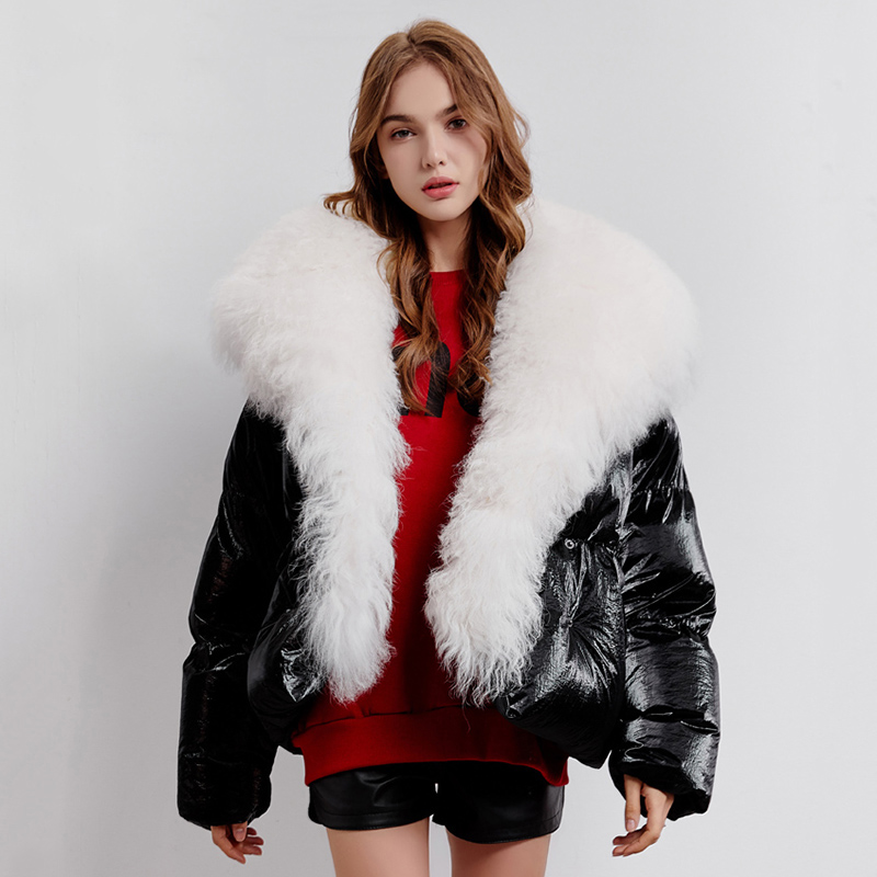 Oversized Fur Collar White Duck Down Coat Women Real Wool Fur Down Parka 2019 New Series Glossy Silver Womens Winter Down Jacket
