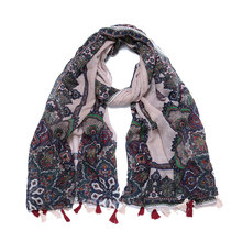 2019 New Bohemian Style Scarf Womens National Retro 180x90cm Shawl Comfortable Fashion Unisex Autumn Winter