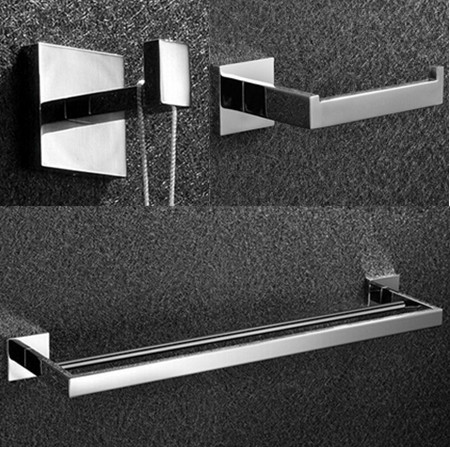 Free shipping 304 Stainless Steel Bathroom Accessories Set paper towel holder robe hook double Towel Bar