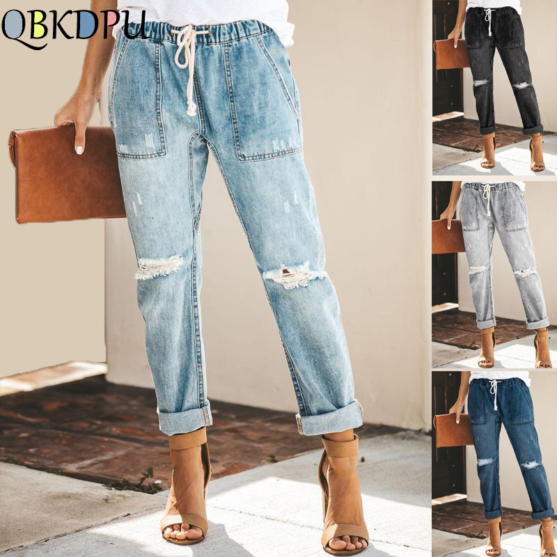 Holes Ripped Cotton   Jeans   for Women Mom's Plus Size Elastic High Waist Denim pants Female Straight Loose   Jeans   Mujer 2019 Summer