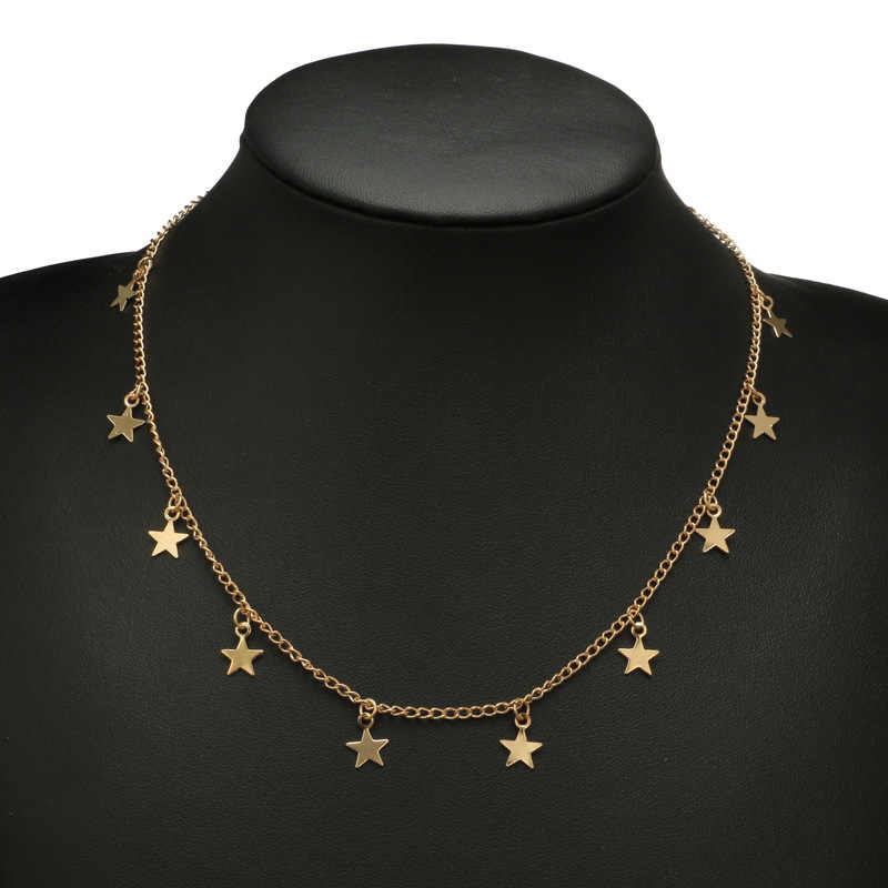 X073 Trendi Bohemia Bintang Liontin Kalung untuk Wanita Emas Kalung Rantai Pendek Kalung Bijoux Femme BoHo Perhiasan Colar