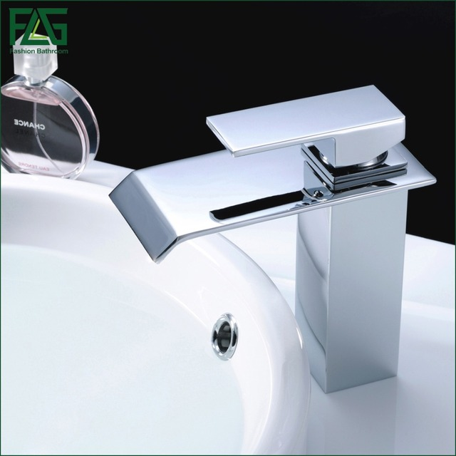 Flg Waterfall Bathroom Faucet Chrome Cast Bath Tap Cold Hot Deck Mounted Square Vessel Sink