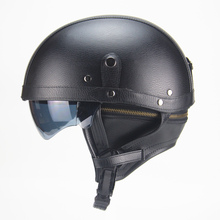 Motorcycle Motorbike Rider Half Open Face PU Leather Helmet with dual lens DOT